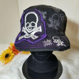 Women's Skull Embroidered Rhinestone Hat Cap